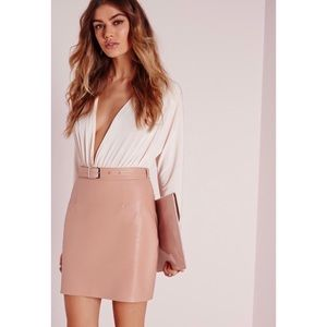 Misguided nude faux leather buckle skirt 4